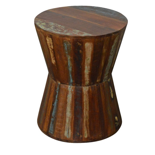 Reclaimed Wood Hourglass Stool For Sale