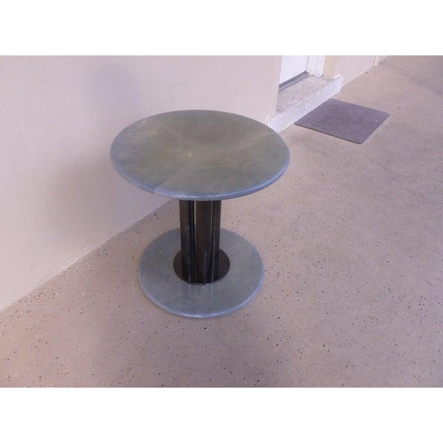 Roche Bobois Post Modern 80's Roche Bobois Goatskin / Parchment Three Column Occasional Table For Sale - Image 4 of 9