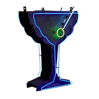 Glowing Neon Martini Sign W/ Uranium Olive Circa 1940s
