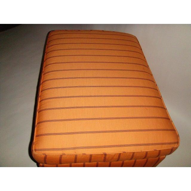 Mid-Century Orange Upholstered Ottoman - Image 4 of 5