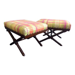 X Base Palecek Benches - a Pair For Sale