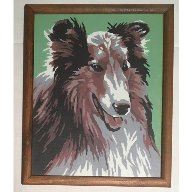 Mid-Century Modern Vintage Framed Dog & Cat Paint by Number Paintings- A Pair For Sale - Image 3 of 6
