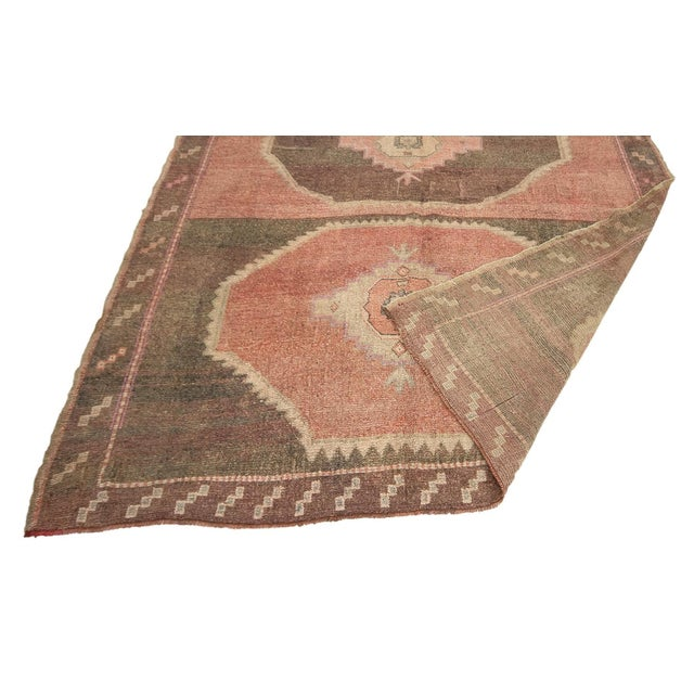 Mid 20th Century Vintage Brown and Pink Large Turkish Kars Wool Rug For Sale - Image 5 of 7
