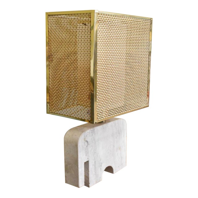 Vintage Italian Mid Century Table Desk Travertine Lamp by Fratelli Manelli With Brass Wicker Box Shade For Sale