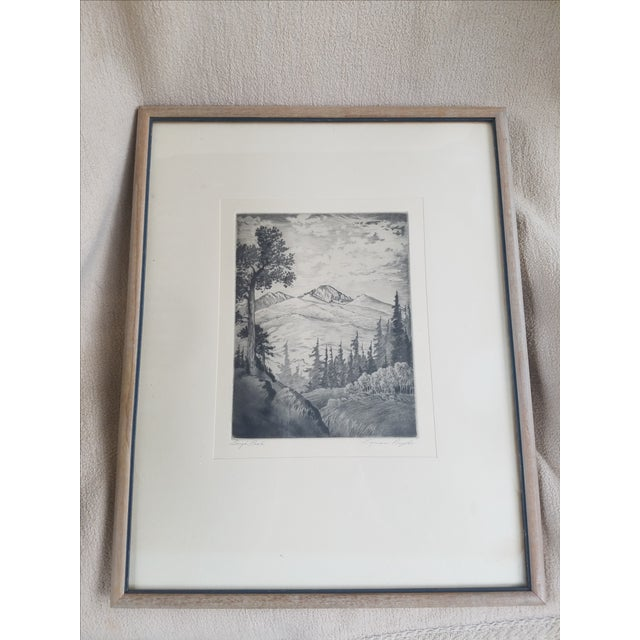 Long's Peak Etching by Lyman Byxbe - Image 2 of 6