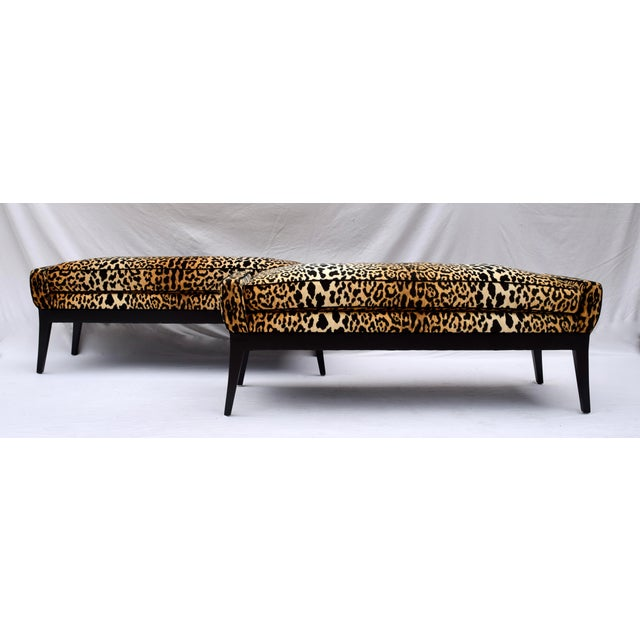 1970s 1970s Leopard Velvet Bench Attributed to Edward Wormley for Dunbar For Sale - Image 5 of 11