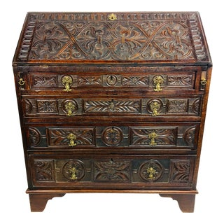 19th Century Baroque Hand Carved Secretary Desk For Sale