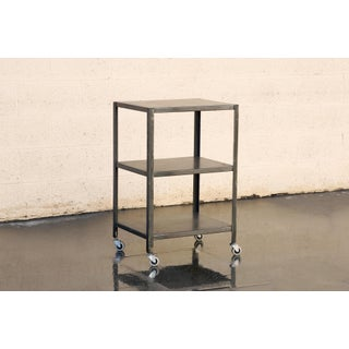 Custom Made Industrial Steel Rolling Cart With Patina For Sale