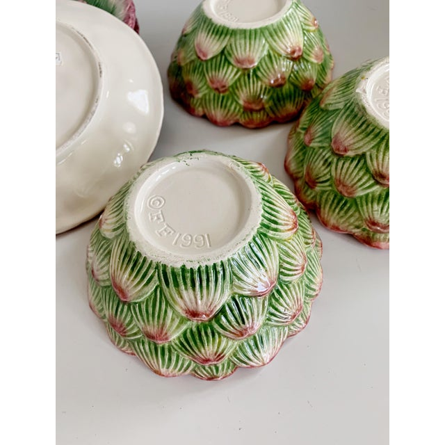 Fitz and Floyd Artichoke Ceramic Serving Bowls and Plates Set - 6 Pieces For Sale - Image 11 of 13