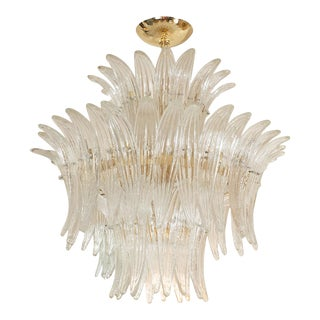 1960s Murano Glass Tiered Palmette Fixture For Sale