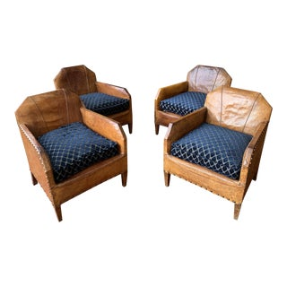 1930s Vintage Art Deco French Leather Club Chairs - Set of 4 For Sale