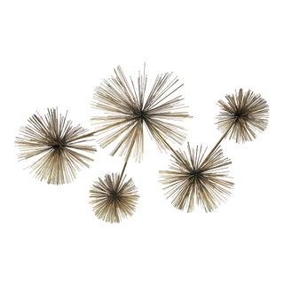 Curtis Jere Sea Urchin Pom Pom Brass Wall Sculpture For Sale