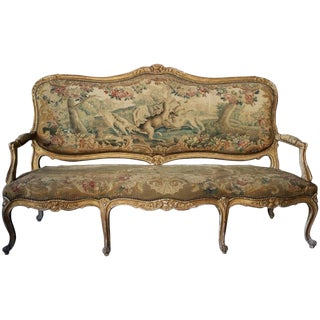 Early 18th Century Antique Louis XV Carved and Giltwood Aubusson Tapestry Canapé For Sale