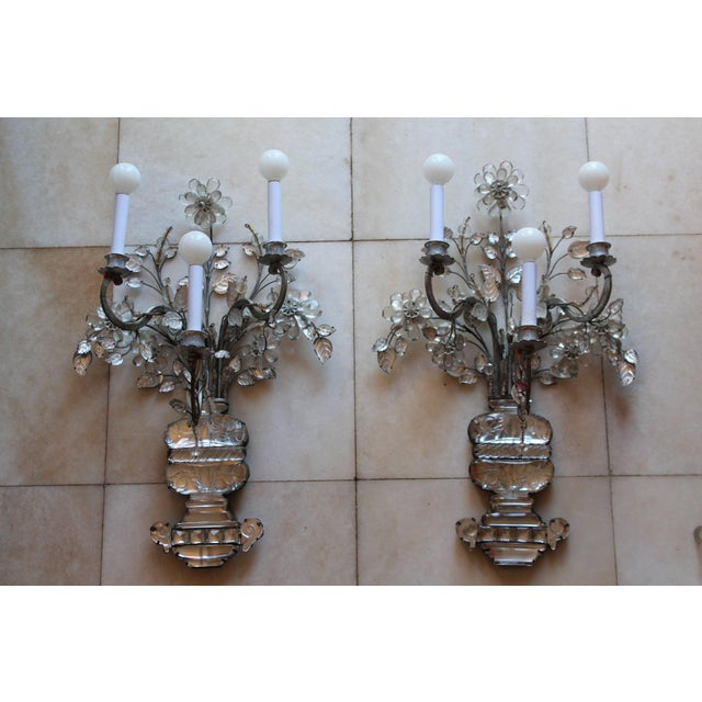 C1845 Maison Bagues Museum Quality Huge Crystal Floral Sconces/ Wall Lamps-Signed in Bronze - a Pair For Sale - Image 12 of 12