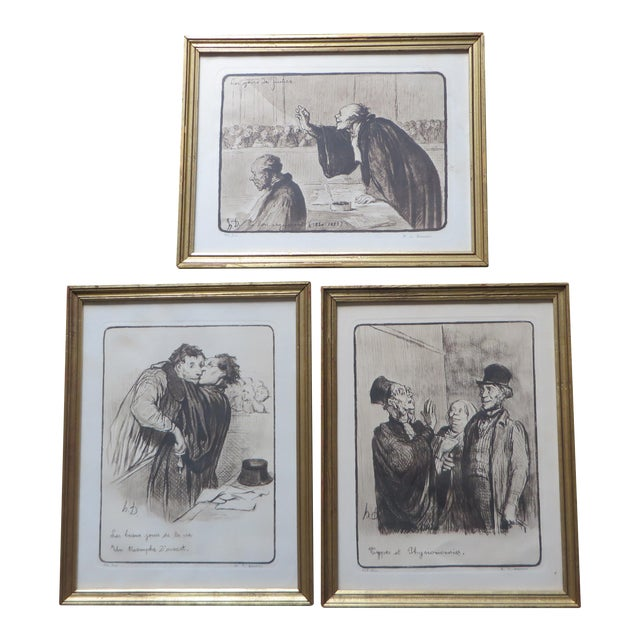Signed Honore Daumier Caricatures - Set of 3 - Image 1 of 11