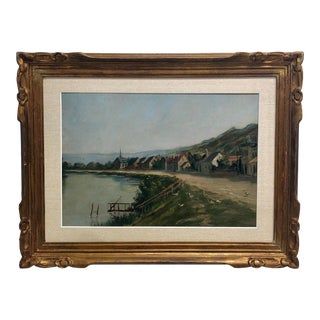 """1930 European Waterside """"The Village Geese"""" Oil Painting For Sale"""
