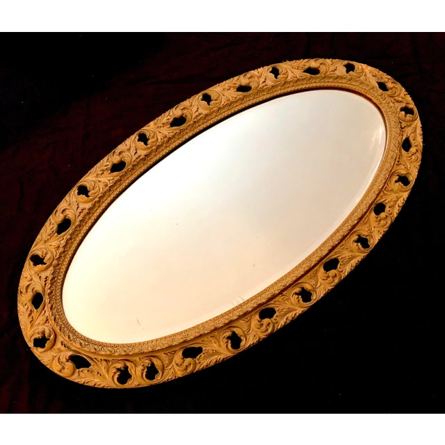 Traditional 20th Century Italian Gilt Carved Wood Oval Beveled Wall Mirror For Sale - Image 3 of 10