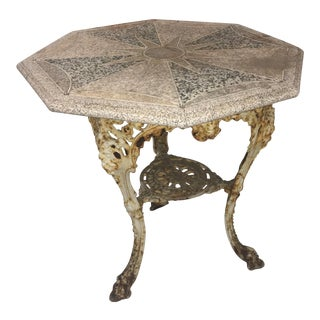 Antique Cast Iron & Terrazzo English Pub Table For Sale