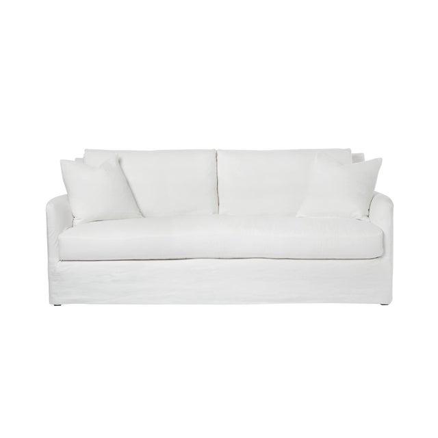 Michael Dawkins Jasmin Linen Upholstered Sofa For Sale - Image 4 of 4