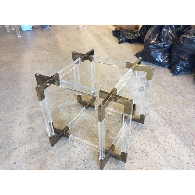 Gold Charles Hollis Jones Vintage CHJ Lucite & Brass Metric Dining Table Base For Sale - Image 8 of 11