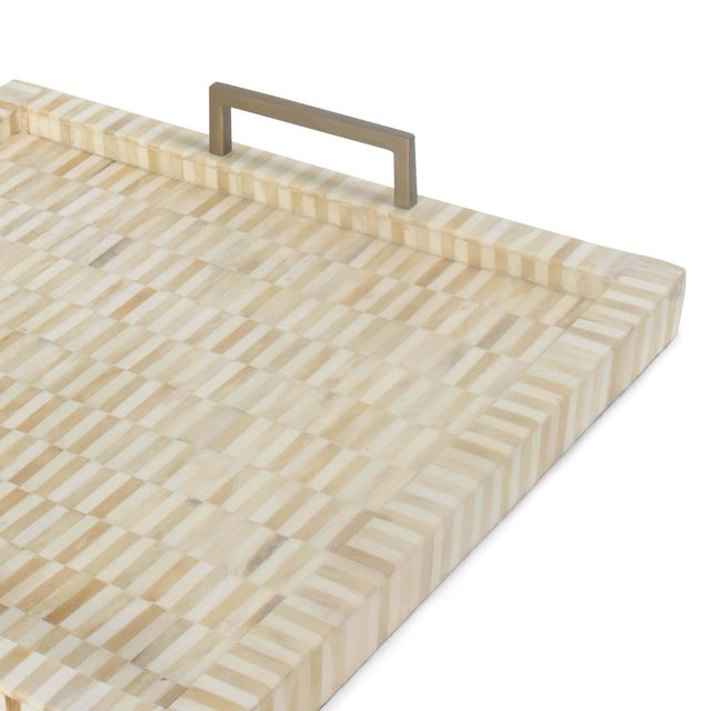 Traditional Nevis Square Multi-Tone Bone and Brass Tray For Sale - Image 3 of 6