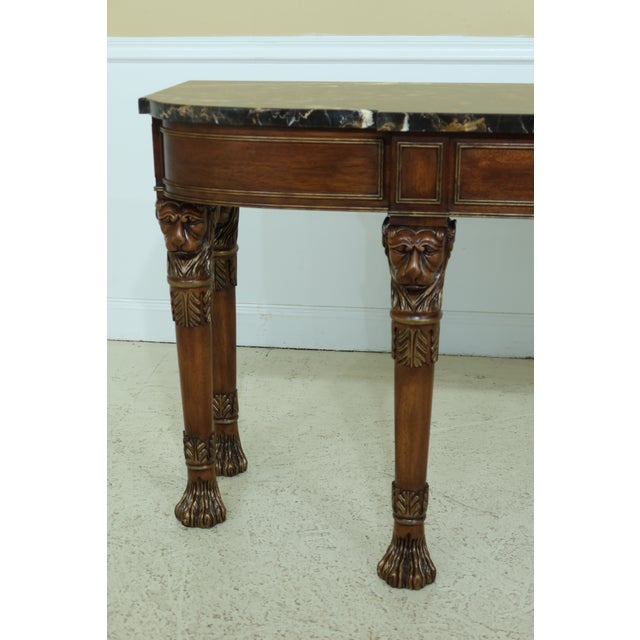 Henkel Harris Lion Head Carved Mahogany Marble Top Console Table For Sale - Image 10 of 11