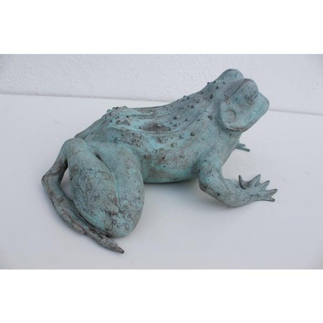 Vintage Bronze Frog Garden Statue For Sale - Image 5 of 8