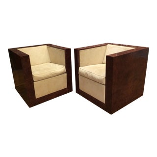 Milo Baughman Style Burlwood Cube Chairs- A Pair For Sale