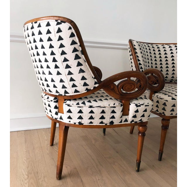 Vintage Black & White Upholstered Arm Chairs - A Pair For Sale - Image 4 of 13