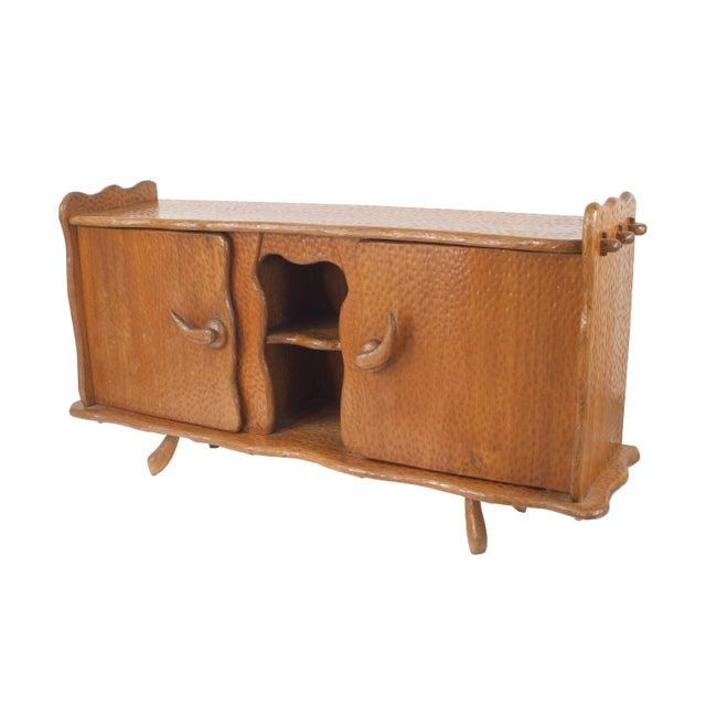 1900 - 1909 French Rustic Adirondack Style Chipped Pine Sideboard For Sale - Image 5 of 5