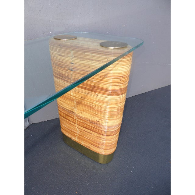 Vintage Mid-Century Double Pedestal Bamboo Rattan Wrapped Glass Top Console Table - Image 7 of 11
