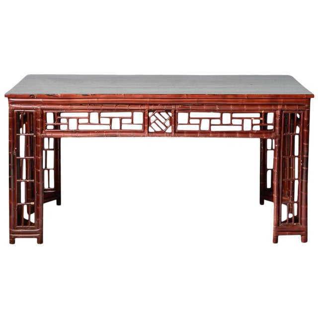 Antique Chinese Chippendale Bamboo Altar Table/Console For Sale