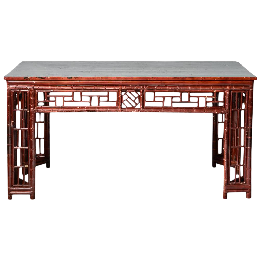 Antique Chinese Chippendale Bamboo Altar Table/Console