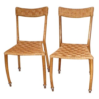 1950s Vintage Ico Parisi Style Woven Rope Side Chairs- A Pair For Sale