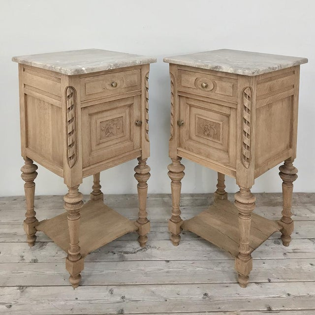 Pair Antique French Louis XVI Stripped Marble Top Nightstands For Sale - Image 11 of 12
