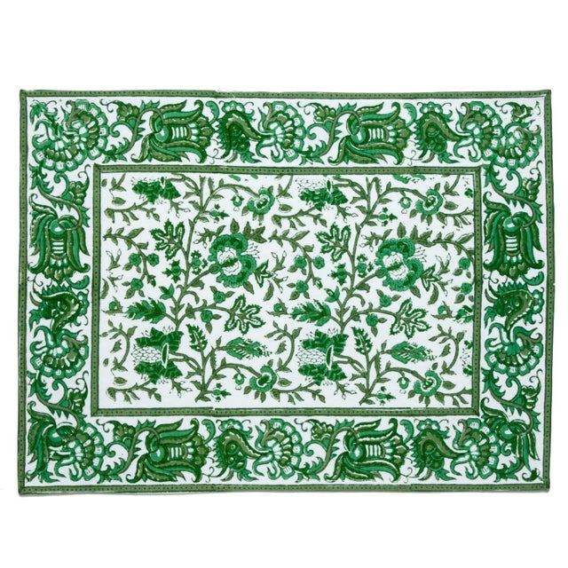 Contemporary Aria Placemats Green - A Pair For Sale - Image 3 of 4