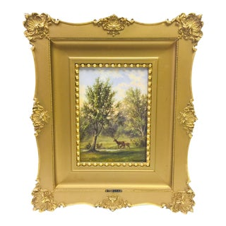 Antique English Landscape With Deer Oil Painting Signed by Artist Henry Harold Vickers For Sale
