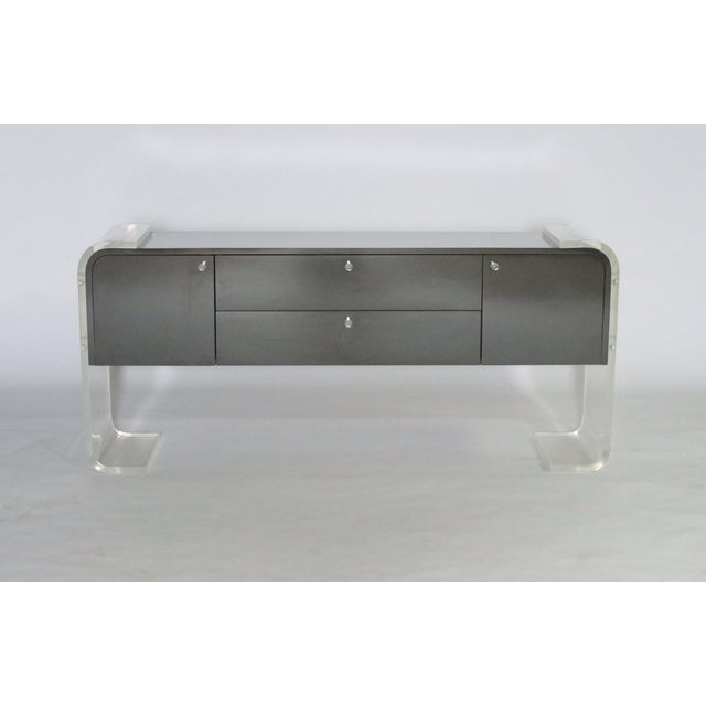 Mid-Century Modern Lucite and Lacquered Wood Sideboard For Sale - Image 3 of 9