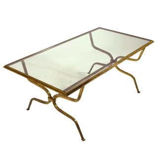 Maison Ramsay Gilt-Iron and Glass Coffee Table For Sale