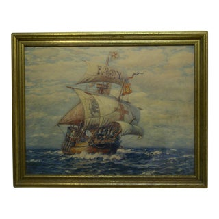 """Sailing Ship"" Framed Original Print For Sale"