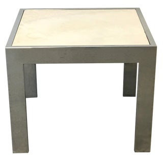 1960s Modern Milo Baughman Style Chrome and Stone Side Table For Sale