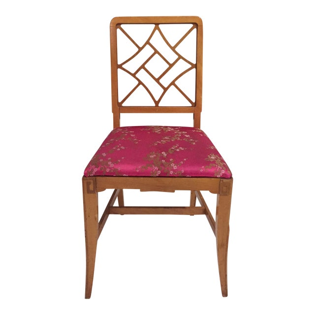 1940's Fretwork Greek Key Side Chair With Asian Upholstery - Image 1 of 9