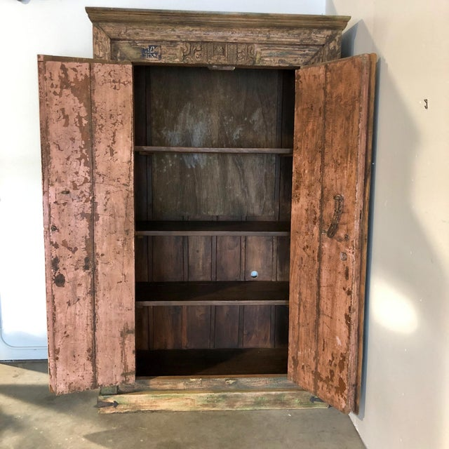 Antique Rustic Large Wood Armoire - Image 2 of 6