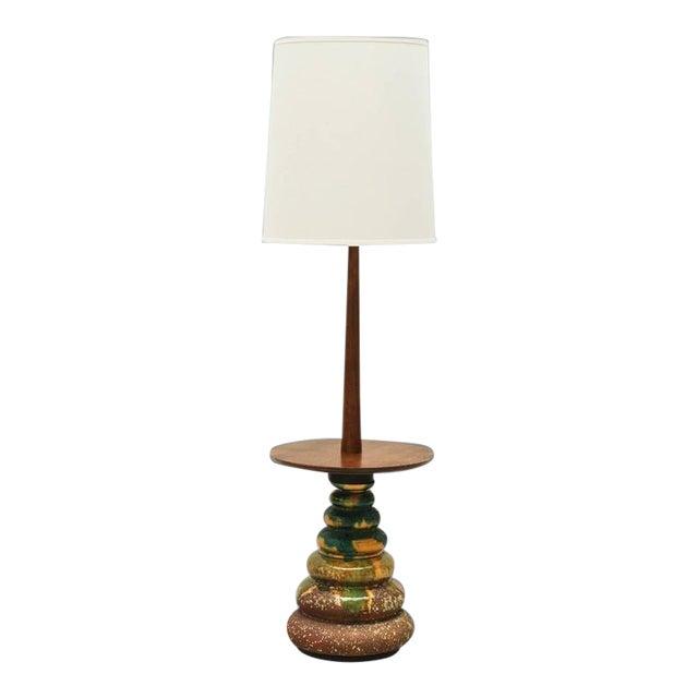 1960s California Studio Ceramic Drip-Glaze Floor Lamp With Teak Table For Sale