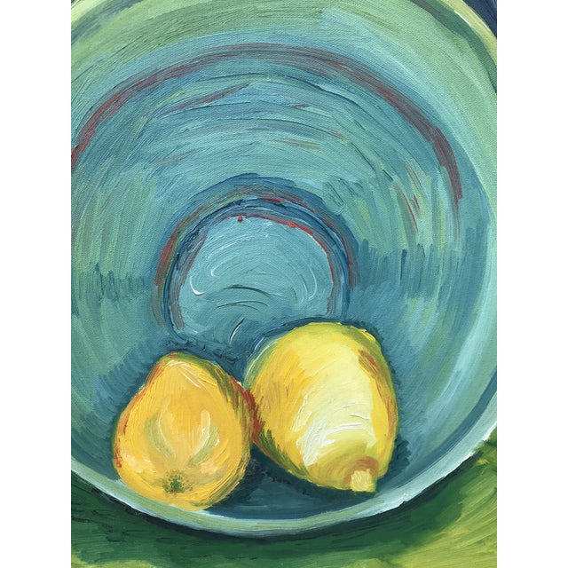 Impressionism 1990s Impressionist Still Life Painting of Lemons a Bowl For Sale - Image 3 of 9