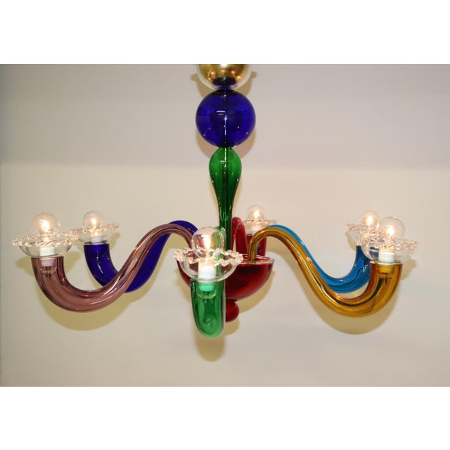 Vintage Primary Color Mid-Century Modern Murano Glass Chandelier For Sale In New York - Image 6 of 13