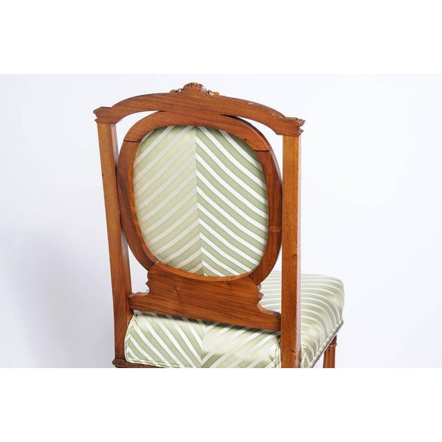 Set of Six English, Edwardian Style Dining Side Chairs with Green Upholstery Fabric - Image 8 of 10