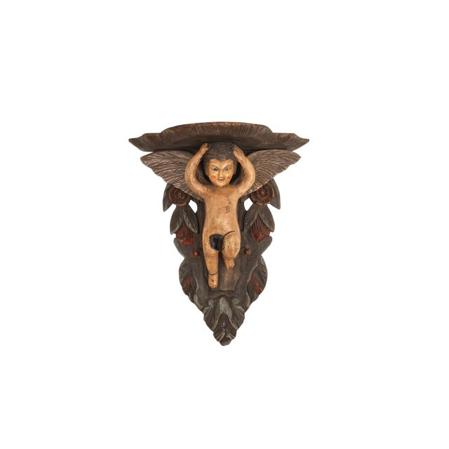 Image of Hand-Carved Victorian Putti Angel Wall Shelf | Large Demilune Nude Winged Angel Wall Display | Religious Gothic Dimensional Decor