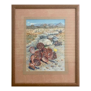 Nancy Worth, Prickly Pear Cactus, 1988 - Original Watercolor For Sale