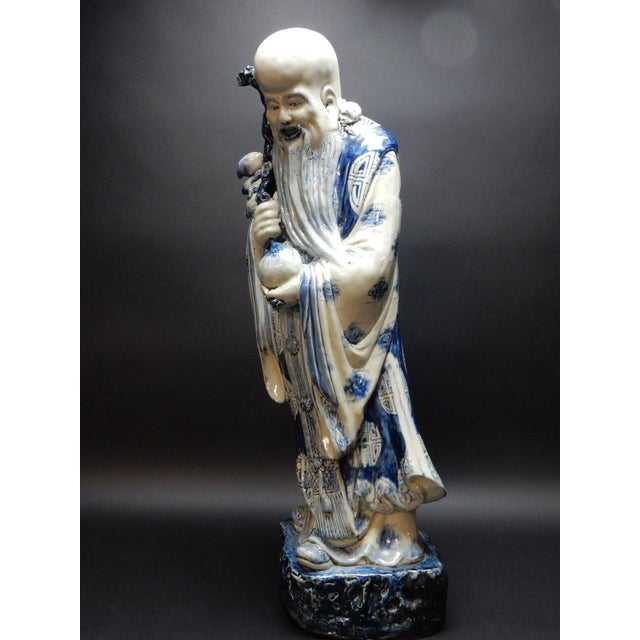 Chinese Antique Chinese Blue and White Porcelain Statue of Shoulao 32 Inches For Sale - Image 3 of 13